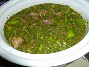 Salsa Mixture over Pork, Italian Pepper, Onions and Celery in Crock Pot before cooking