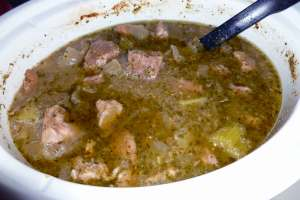 Spicy Green Pork Amazing (a.k.a. Pork Chile Verde) after cooking