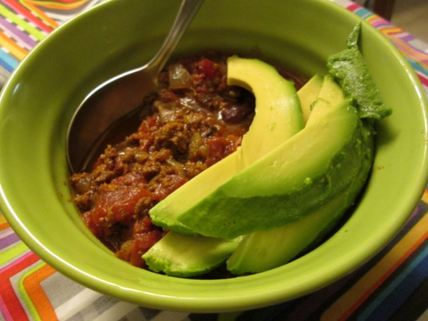 Bison Chili with sliced avocado -- keeping you warm until spring really shows up