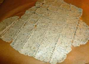 Dough after rolling and cut up into cracker size pieces