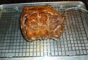 Roast after 15 minutes and placement of probe thermometer