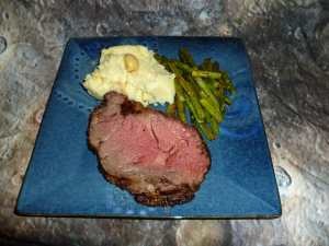 Boneless Rib Eye Roast, Garlic Mashed Potatoes and Oven Roasted Asparagus