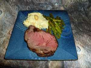 Boneless Rib Eye Roast, Garlic Mashed Potatoes and Oven Roasted Asparagus