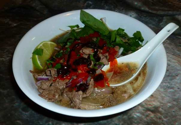 Quick-ish Beef Pho, with Sriracha and Hoisin sauce
