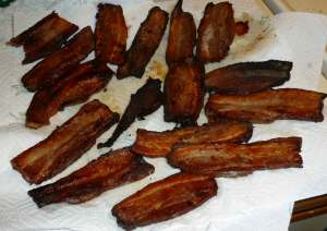 Roasted Bacon, cooked two ways, fried and using the oven method
