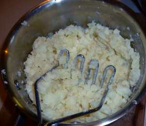 Potatoes, roughly mashed