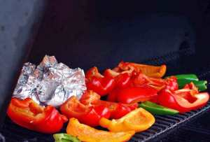 Peppers and Garlic on the grill