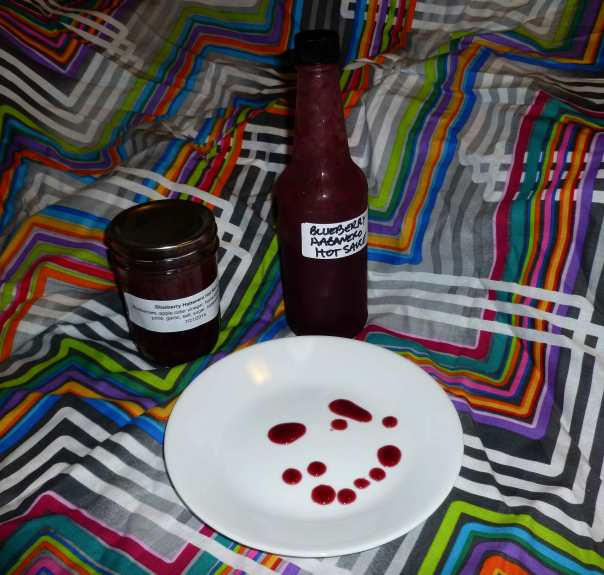 Blueberry Habanero Hot Sauce (and my pathetic attempt to do a smiley face with the hot sauce bottle dripper)