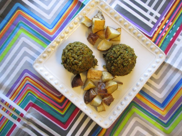 Mung Bean Patties with roasted potatoes