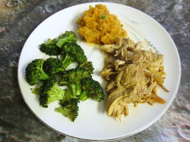 Slow Cooker Pork Roast with roasted broccoli and mashed sweet potatoes