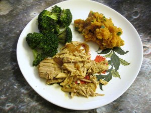 Slow Cooker Pork Roast with roasted broccoli and mashed sweet potatoes on Surviving the Food Allergy Apocalypse