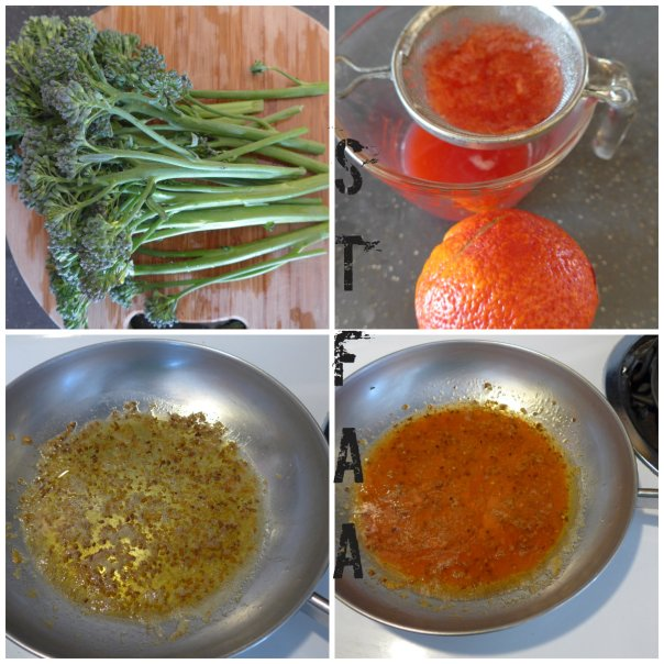 From top left: whole raw broccolini, blood orange and squeezed juice, finished sauce, and toasted garlic in Earth Balance margarine