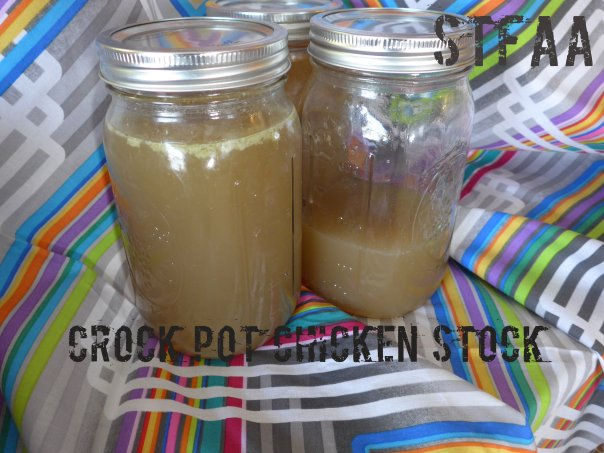 Crock Pot Chicken Stock in jars