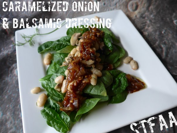 Caramelized Onion & Balsamic Dressing over White Beans, Mushrooms, and Spinach